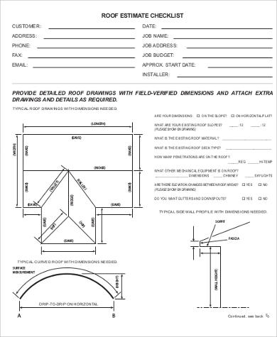 Roofing Estimate Sample   Examples In Word Pdf