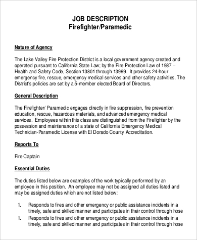 Sample Firefighter Job Description   Examples In Pdf