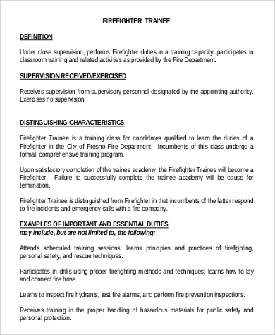 firefighter trainee job description