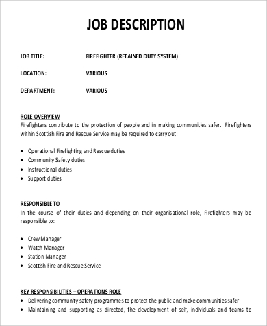 Sample Firefighter Job Description - 9+ Examples In Pdf