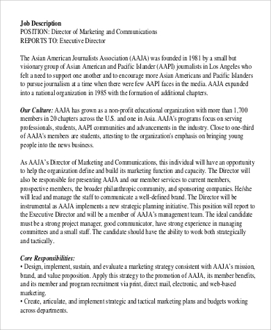 executive director of marketing job description