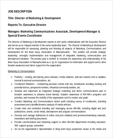 Director Of Marketing U0026 Development Job Description