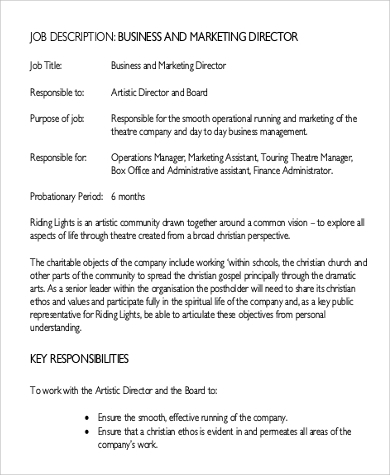 Sample Director Of Marketing Job Description   Examples In Pdf