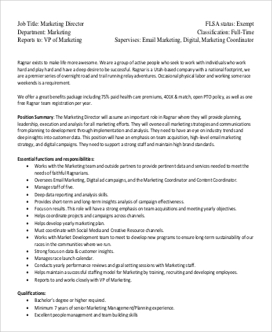 director of marketing job description responsibilities
