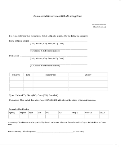 blank commercial bill of lading