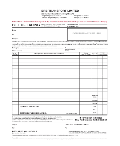 blank generic bill of lading