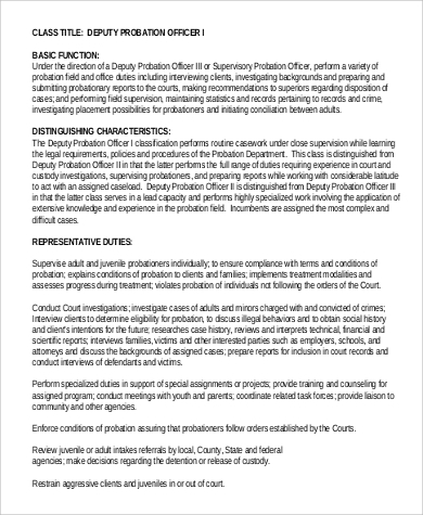 deputy probation officer job description