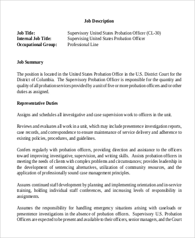 probation officer supervisor job description