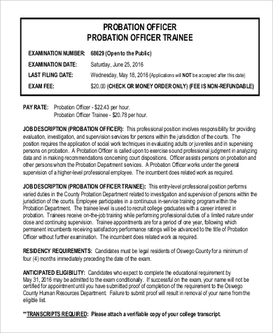 Probation-Officer-Trainee-Job-Description Sample Intern Application Form on high school, u.s. visa, college admission, internal job, apartment rental, internal employment, business credit, college scholarship, house rental, japan embassy visa, bridge 2rwanda,