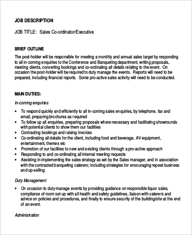 Sample Sales Coordinator Job Description - 9+ Examples In Word, Pdf