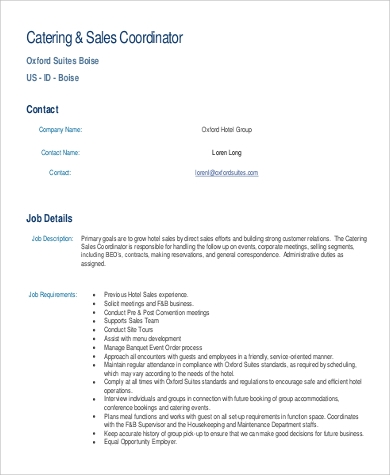 catering sales coordinator job description
