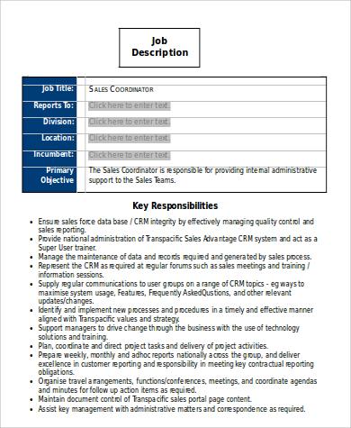 sample sales coordinator job description
