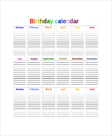 Sample Printable Yearly Calendar   Examples In Word Pdf