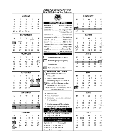 yearly school calendar printable