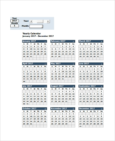 printable yearly calendar excel