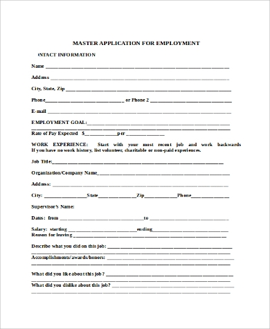 Sample Blank Employment Application Sample   Examples In Word Pdf