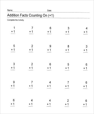 addition worksheet for first grade