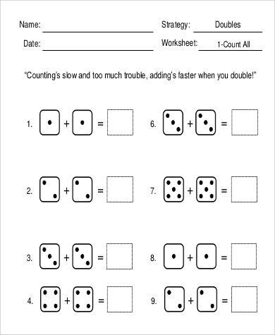 doubles addition worksheet
