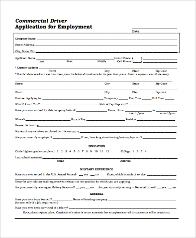 sample blank employment application sample 9 examples in word pdf