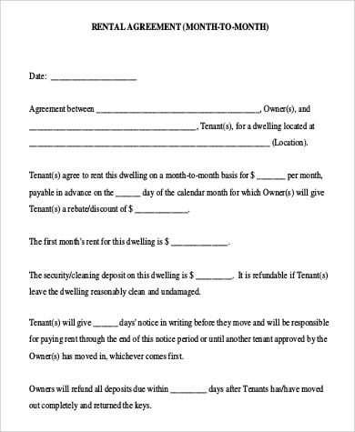printable month to month rental agreement
