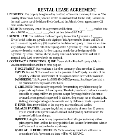 rental lease agreement printable