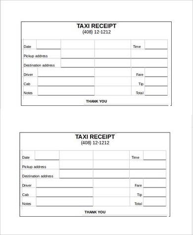 Taxi Receipt Printable  Printable Receipts