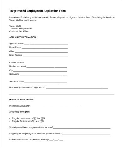 Sample-Target-Employment-Application Blank Job Application Form For Colorado on no company name, template pdf, water sports, simple printable, anchorage ak,