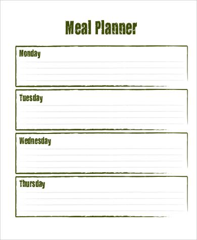 blank meal planner printable