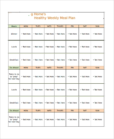 printable meal planner chart