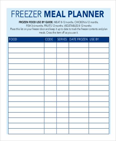 standard meal planner printable