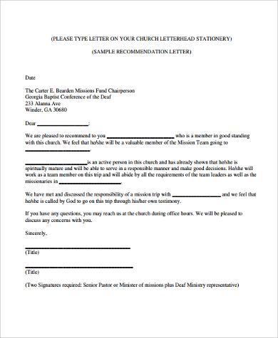 example of church letterhead