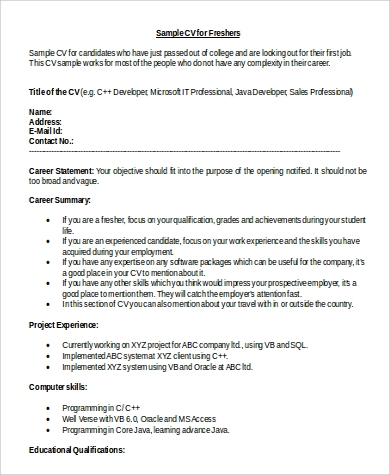 word resume format for fresher