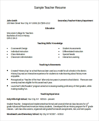 word resume format for teacher
