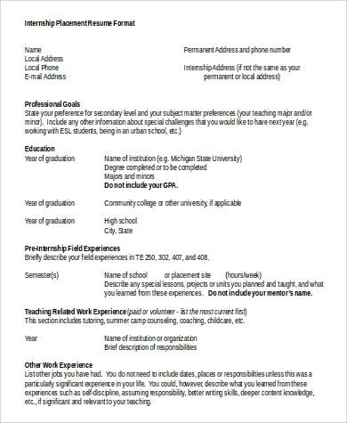 internship placement resume format in word