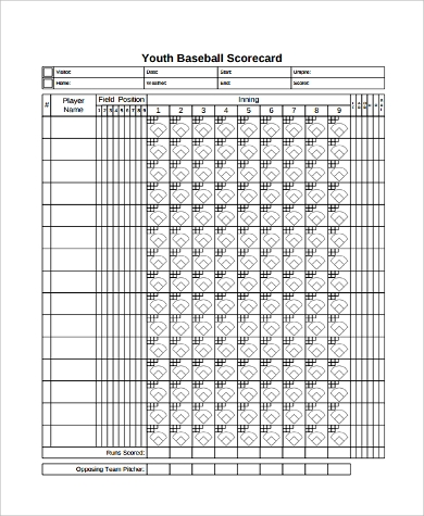 photograph regarding Baseball Scorebook Printable known as Pattern Baseball Scoresheet - 9+ Illustrations within just Phrase, PDF, Excel
