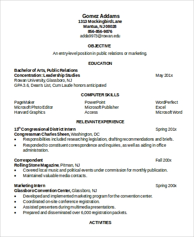 education resume format word