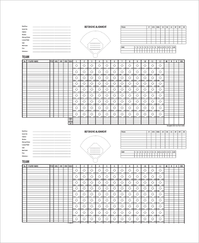 baseball announcer scoresheet