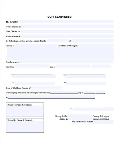 quit claim and warranty deed