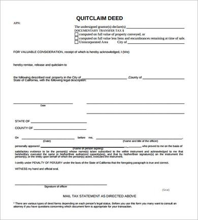 Sample Quit Claim Deed   Examples In Pdf Word