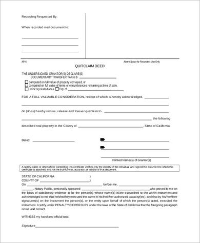 quit claim deed template free download - 10 quit claim deed pdf samples sample templates