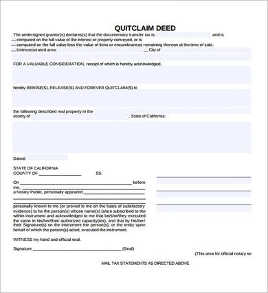 blank quit claim deed