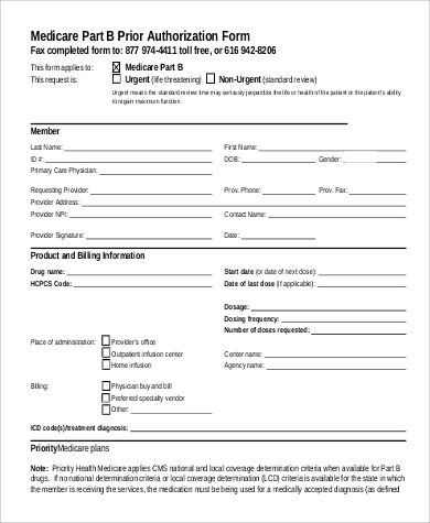 9+ Sample Prior Authorization Forms | Sample Templates