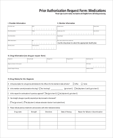 Sample Prior Authorization Form - 9+ Examples In Word, Pdf