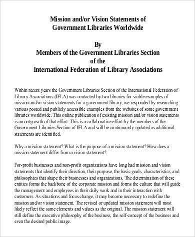 vision statement of government libraries