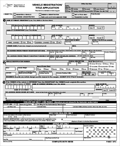Sample Dmv Application Form - 9+ Examples In Word, Pdf