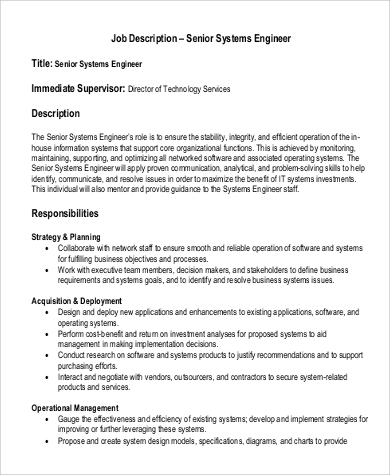 Sample Systems Engineer Job Description   Examples In Pdf