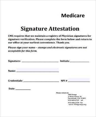 Superb Signature Attestation Form