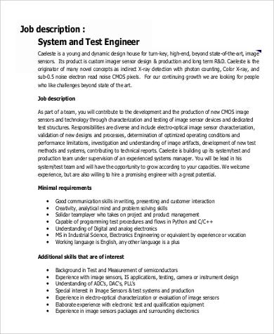 sample engineer job description