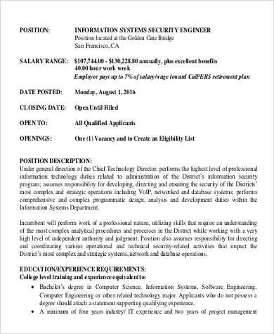 System Security Engineer Job Description To Download