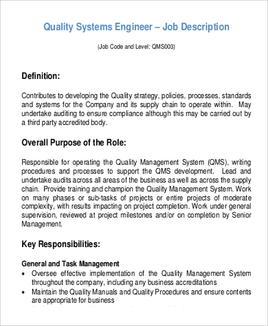 Sample Systems Engineer Job Description - 9+ Examples In Pdf